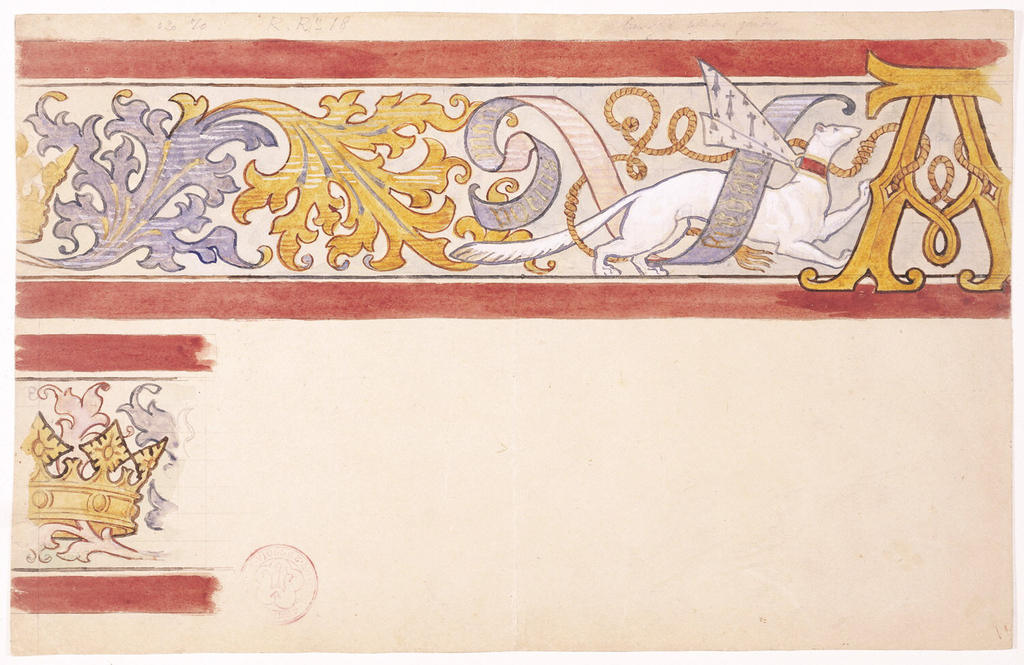 """""""Design for a Frieze Decoration with Ermine and Monogram of Anne of Brittany."""" Drawing. 1830-1860."""