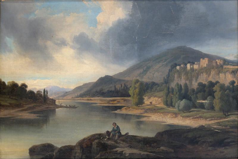 """""""Lac et montagne."""" 19th c. Oil on canvas."""