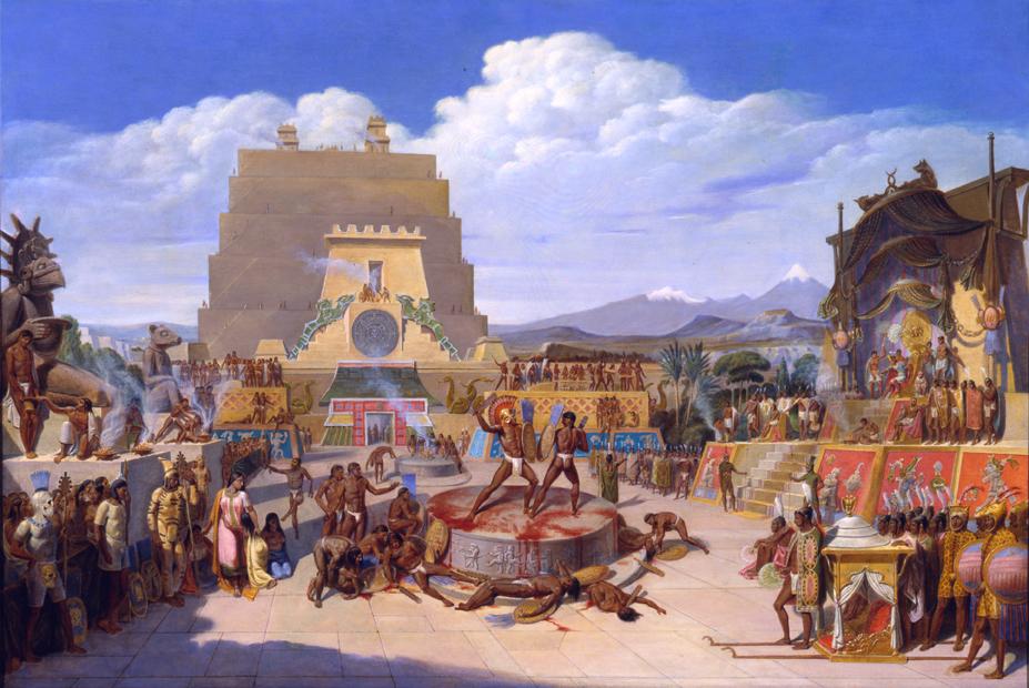 """""""Reconstrucción ideal de una ceremonia prehispánica."""" 1820's. Oil on canvas."""