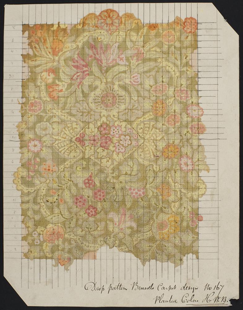 Drop pattern brussels carpet design Number 167. 1870-1920.