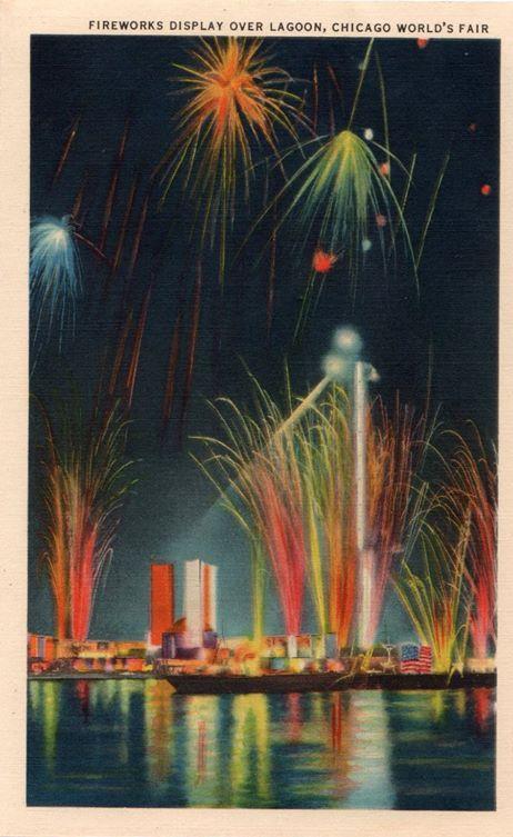 "Fireworks Display over Lagoon, Chicago World's Fair."""