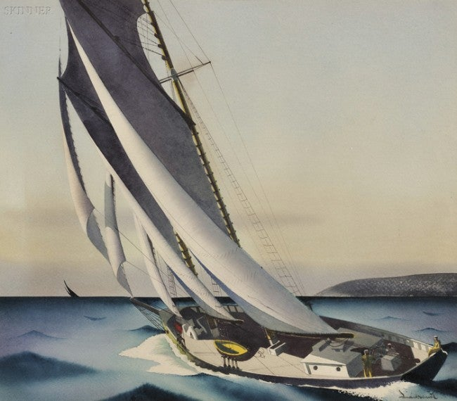 Watercolor of a sailing yacht.
