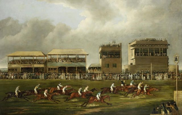 """""""The Wokingham Stakes."""" 19th c. Oil on canvas. Signed."""