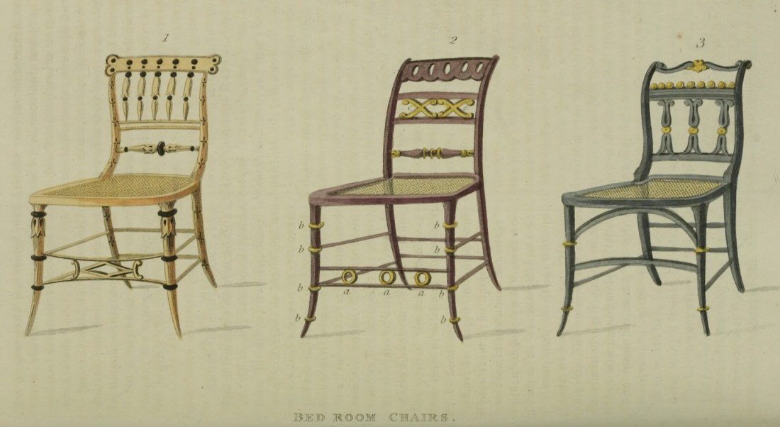 Bedroom Chairs. Plate 8. 1814.