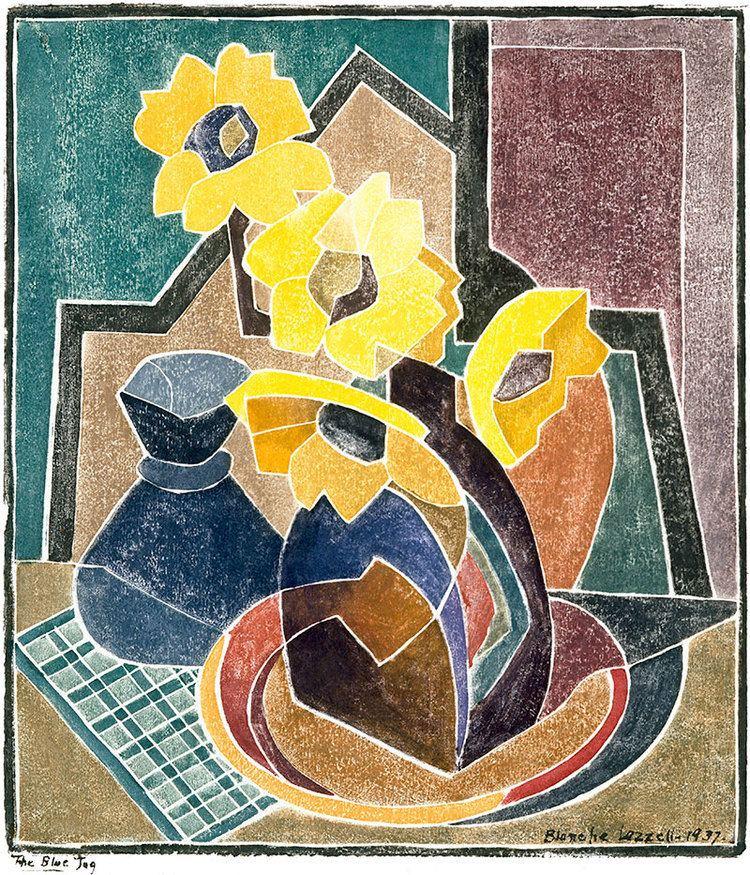 """""""The Blue Jug."""" 1928. Color woodblock."""