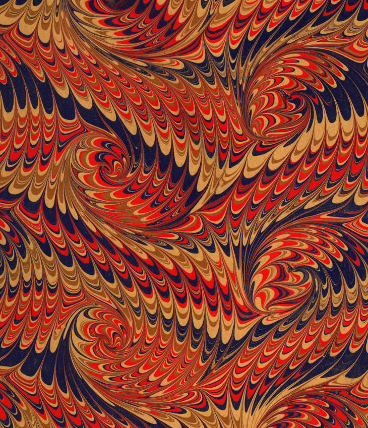 Marbled paper in a French curl on a  Wide comb design. 1900-1999.