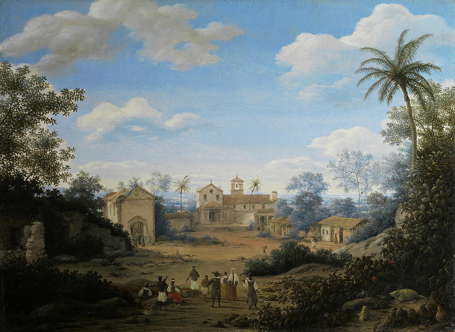 """""""The Church of St. Cosmas and St. Damian and The Franciscan Monastery at Igaraçu, Brazil."""" 1663."""