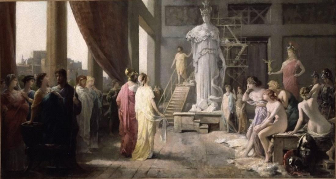 """""""Pericles and Aspasia in the studio of Phidias."""" 19th c."""