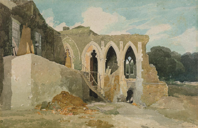 """""""Part of the Refectory of Walsingham Abbey, Norfolk."""" 19th c. Watercolor on paper."""