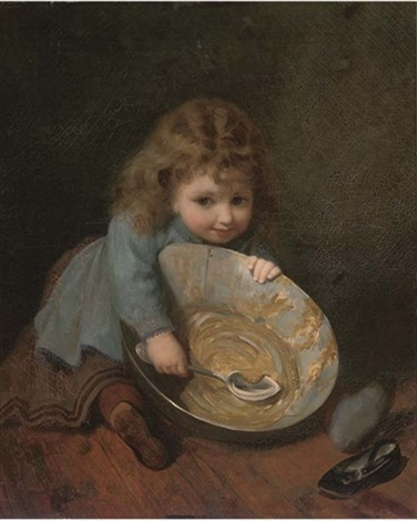 """Scraping the bowl."" ca. 1879. Oil on canvas."