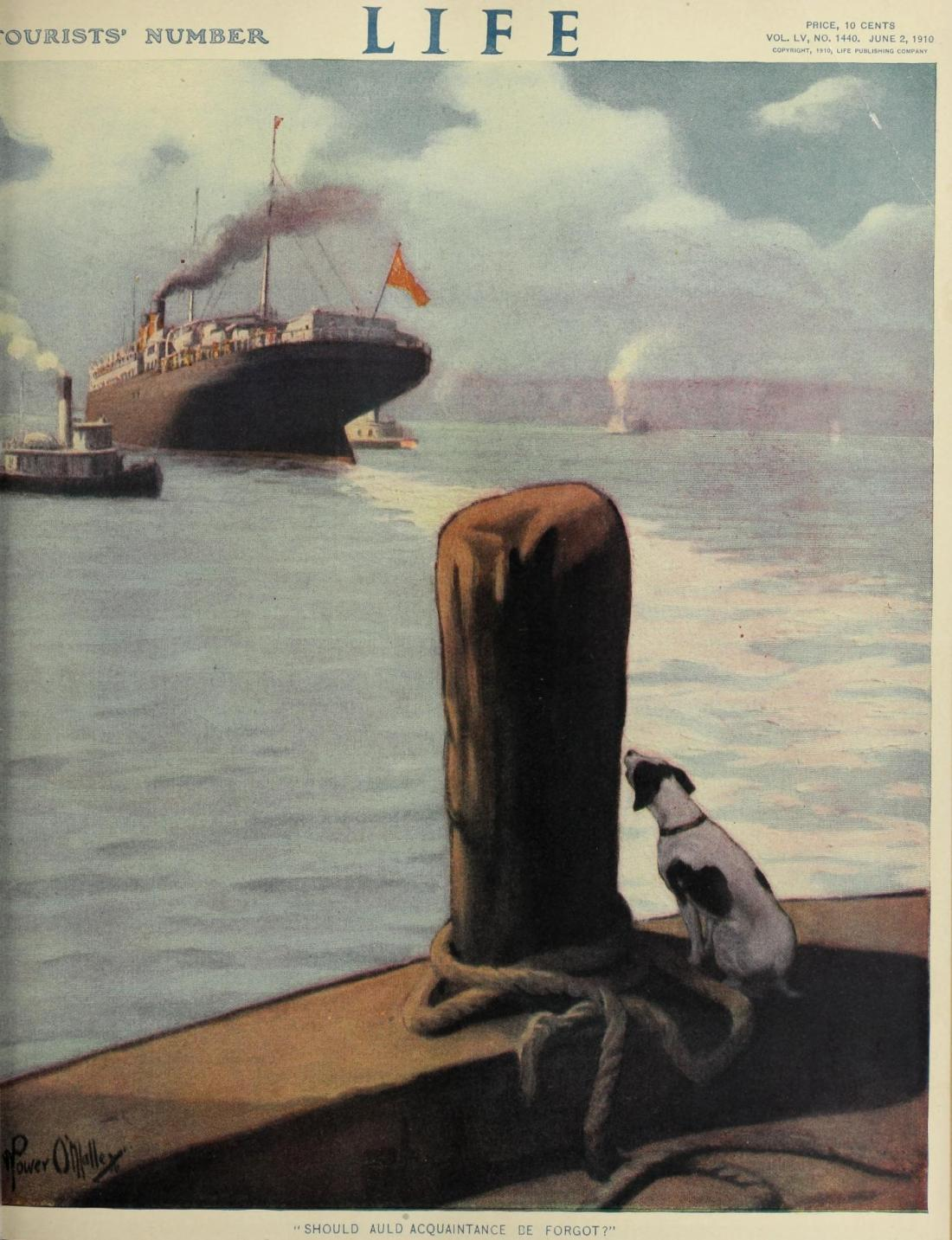 """""""Should Auld Acquaintance be Forgot?"""" Cover for Life magazine. June 2, 1910."""