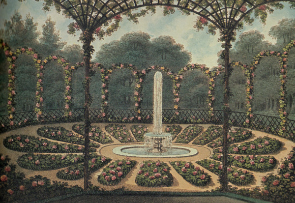 """Rosarium,"" from the Red Book created for the Earl of Bridgewater at Ashridge Park. 1813."