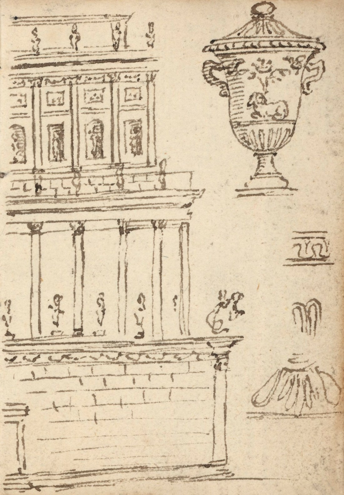 Leaf from a sketchbook with drawings of architecture, sculpture and ornament.