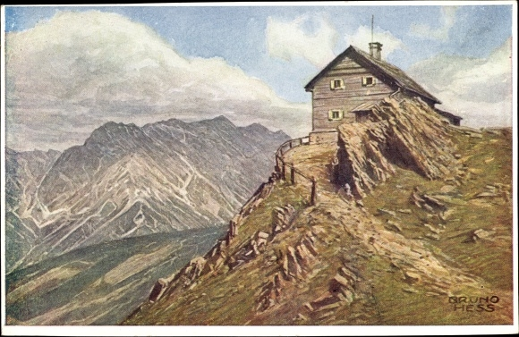 Panorama of the Zell am See in Salzburg, Starzerhaus auf dem Gundstein. Vintage postcard.