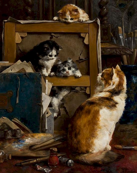 """""""Cats at Studio."""" 1895. Oil on canvas."""