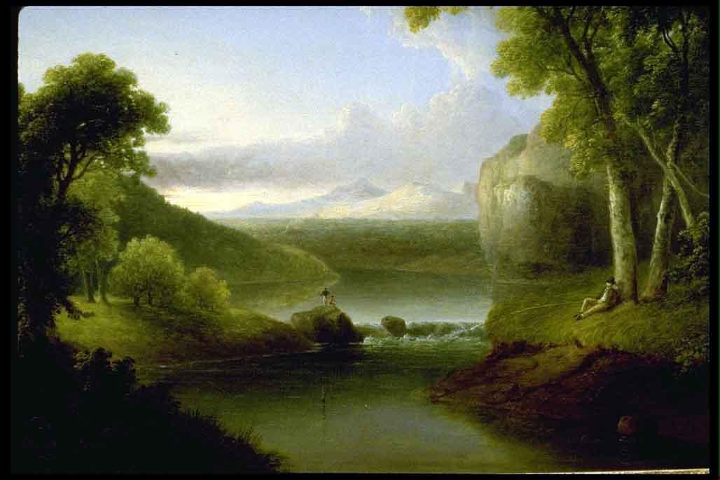 """Three Men Fishing."" 19th c. Oil on canvas. I"