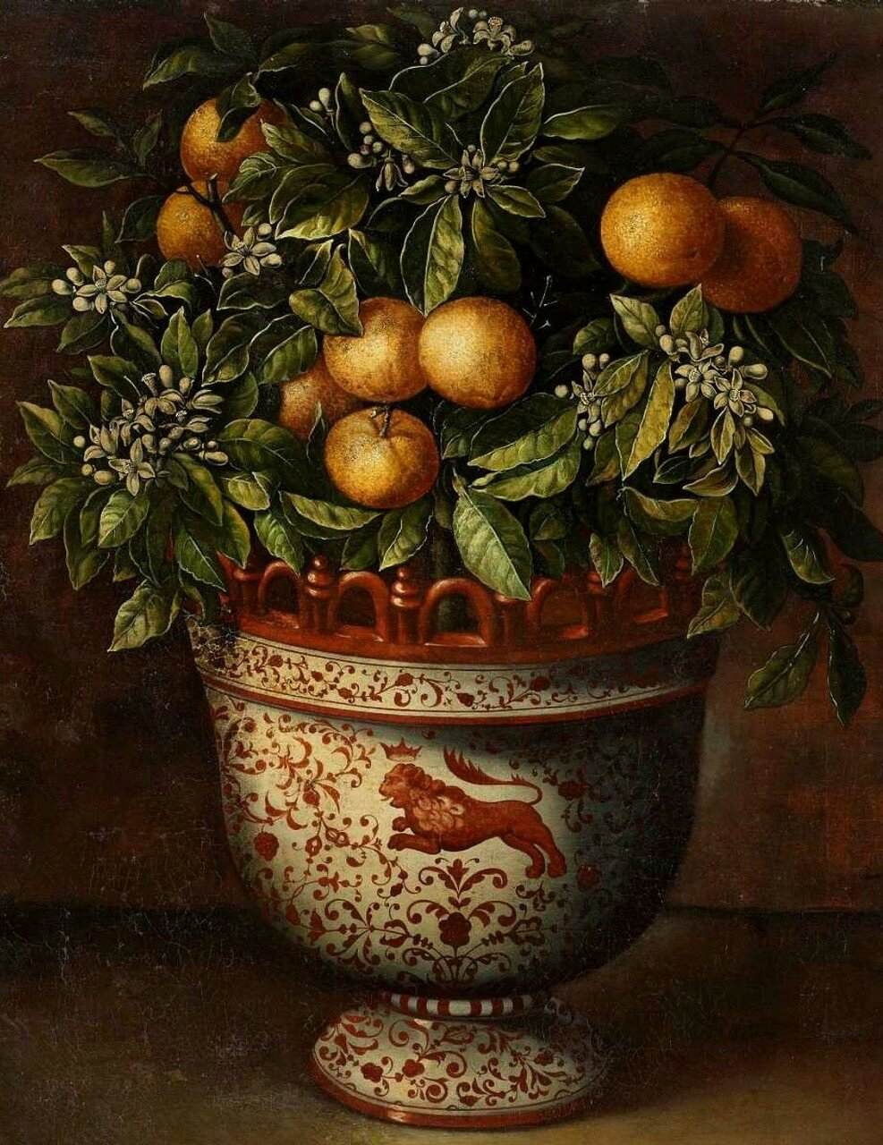 """""""A Painted Ceramic Vase with an Orange Tree."""" No date. Oil on canvas."""
