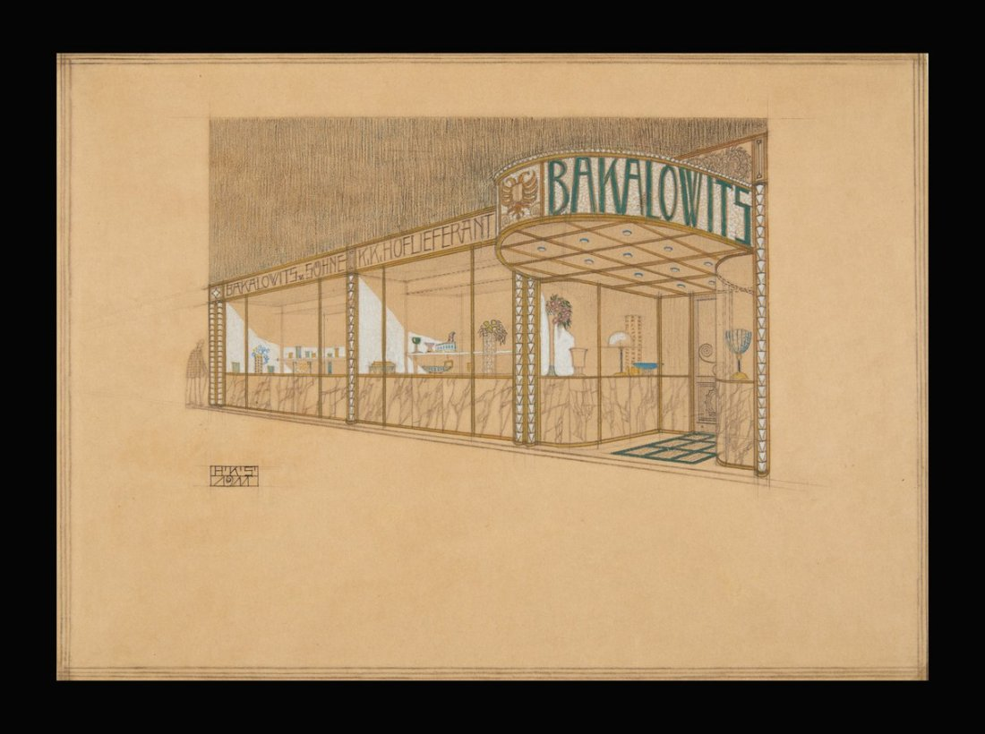 Design for Bakolowits Söhne glassware shop, Vienna. 1911.