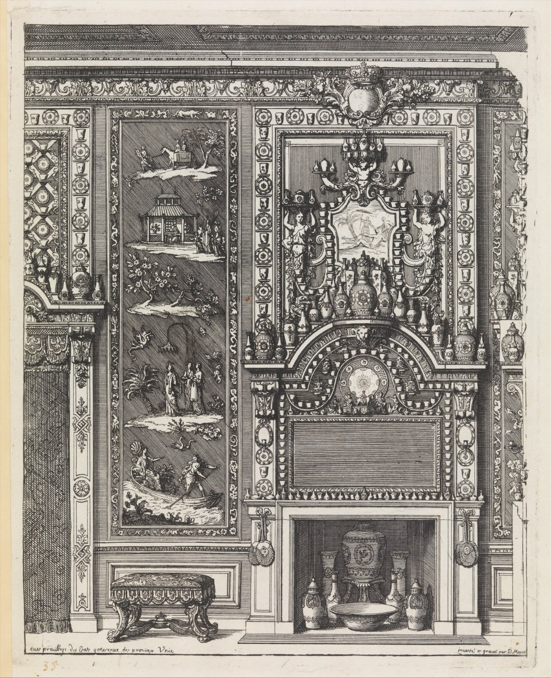 "Title page from ""Oeuvres du Sr. D. Marot"" which was published in The Hague by  Pierre Husson in 1703 or 1712."