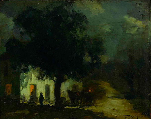 Nocturnal scene with figures in front of an inn. No date.