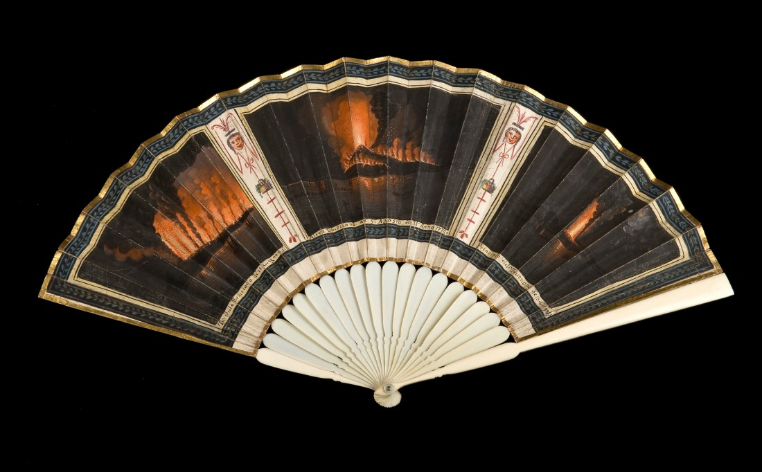 Ivory and paper hand fan painted with scenes of an unidentified fire