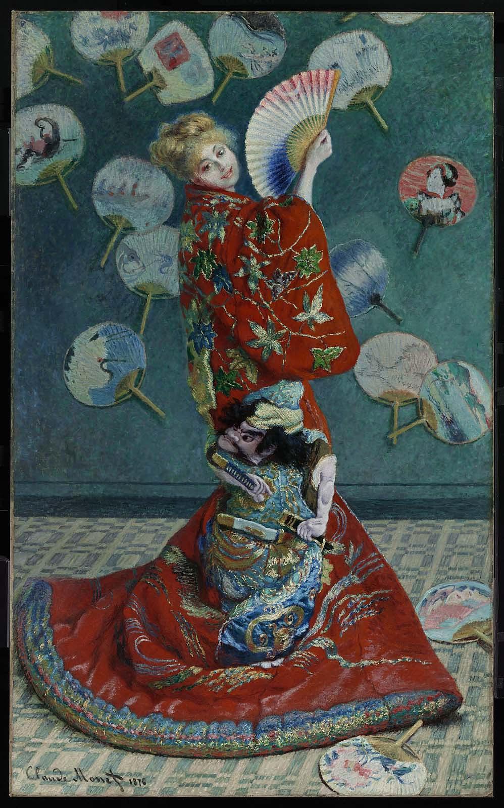 """La Japonaise,"" Camille Monet in Japanese Costume.""   1876."