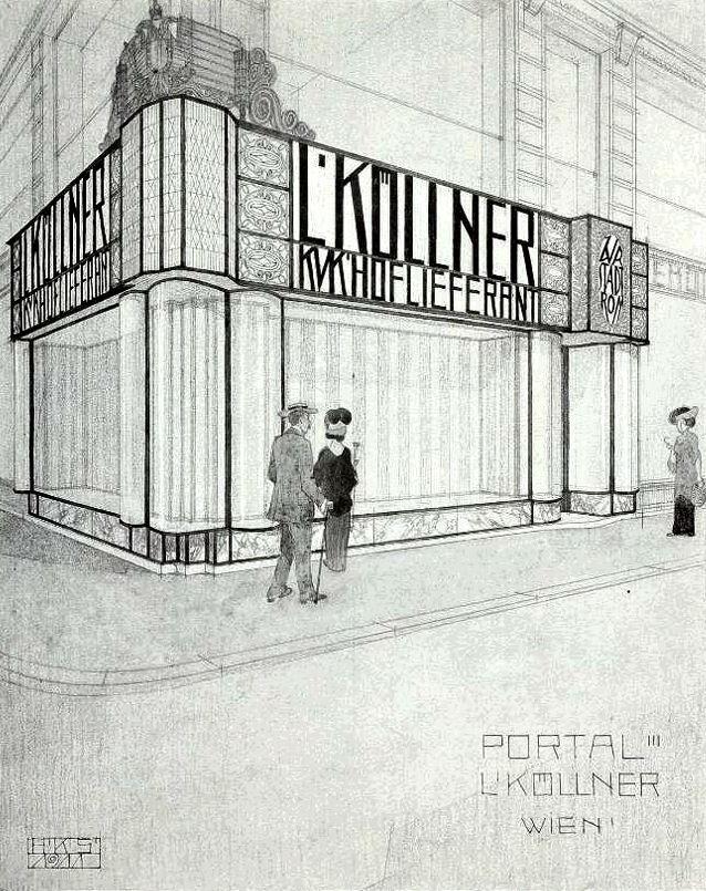 """L. Köllner Shop Front, Kärntnerstrasse, Vienna."""" 1911."""