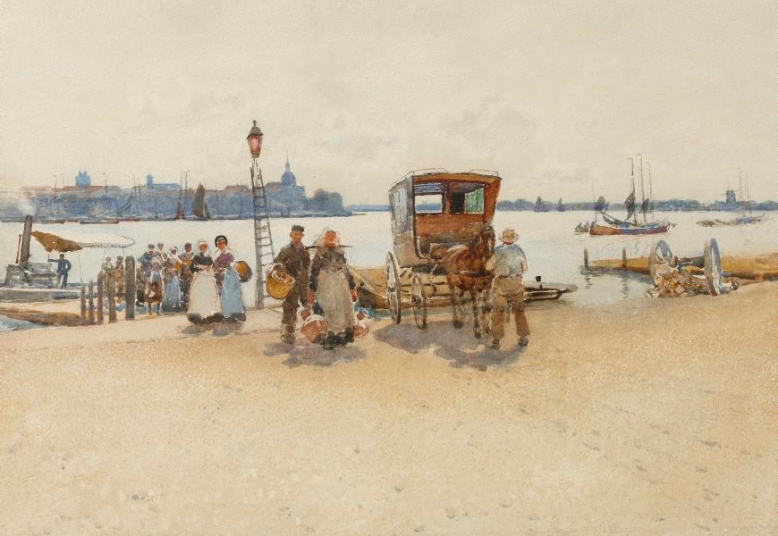"""""""Arriving from the Ferry."""" 1888."""
