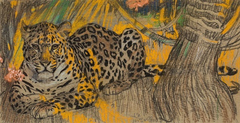 """""""Leopard."""" No date. Colored chalk on paper."""