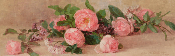 Still life with roses and lilac.