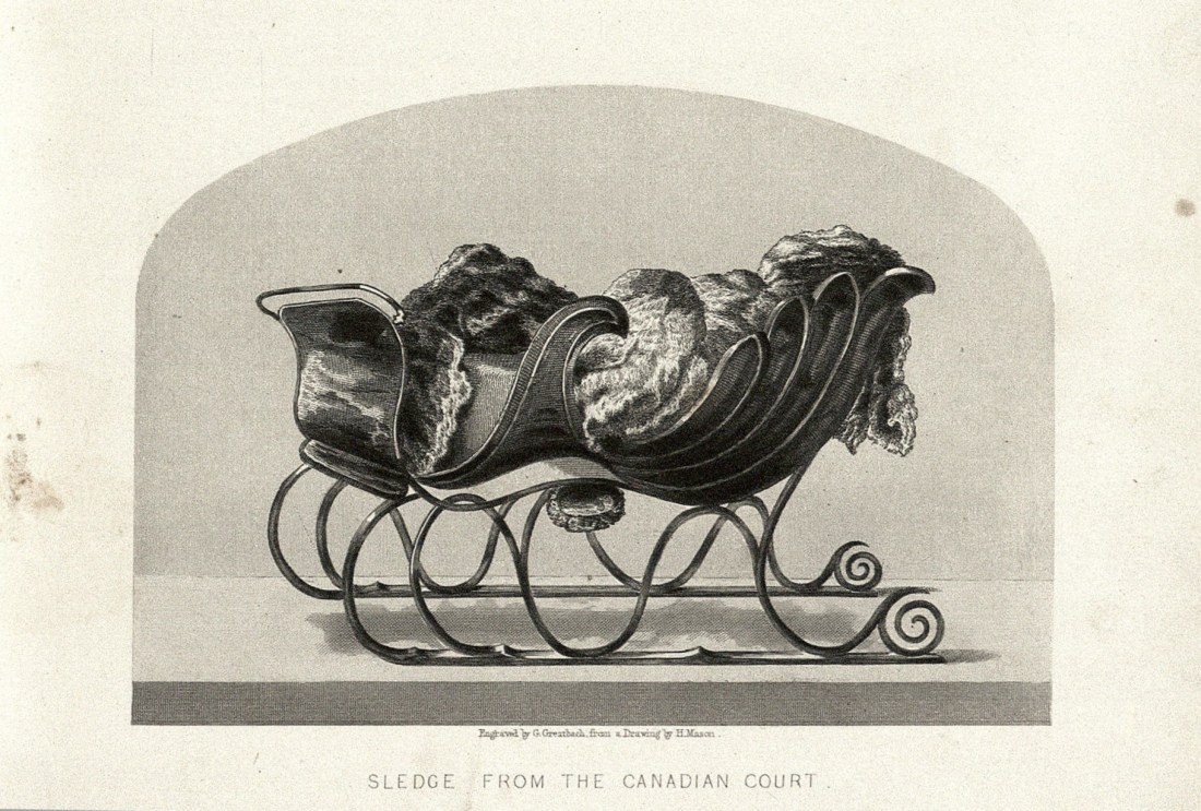 """""""Sledge from the Canadian Court"""" (detail). Page 52b. G. Greatbach, engraver, after a drawing by H. Mason."""