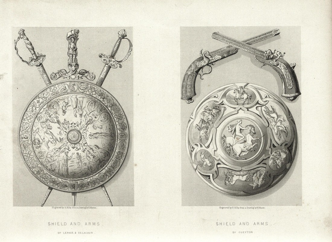 """""""Shield and Arms"""" by Lepage and Delacour"""" (sabres) and Gueyton (pistols). Page 64b"""