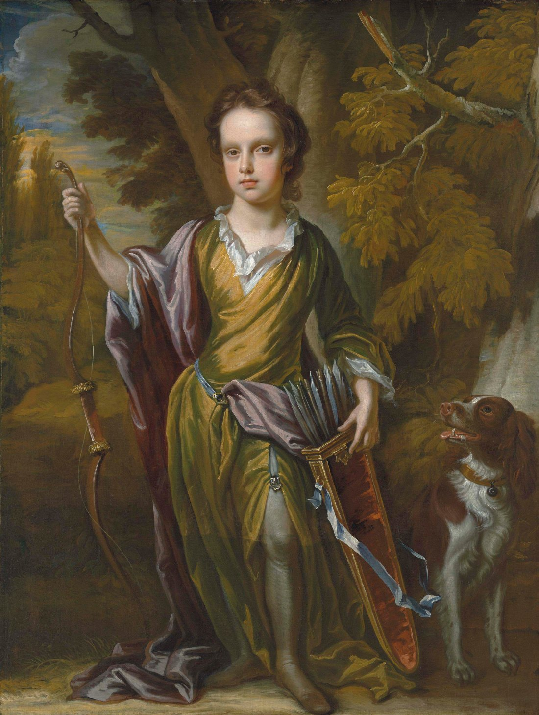 """""""Portrait of David Papillon (1691-1762), full-length, with a bow and arrows and his dog, in a landscape."""" ca. 1700. Oil on canvas."""