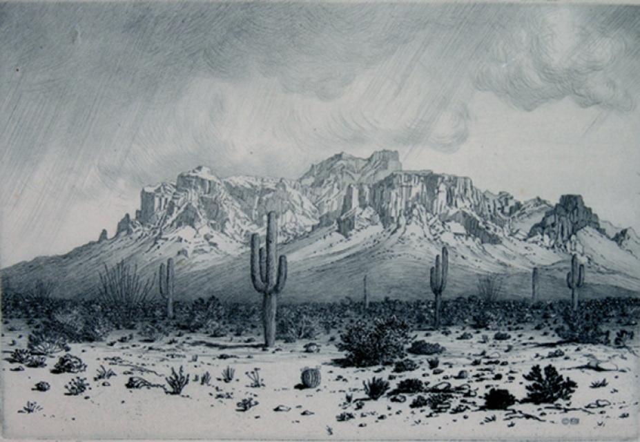 """Superstition Mountain - Apache Trail - Arizona."" 1926. Etching."