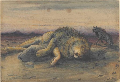 josef-wolf-a-lion-before-the-pyramids