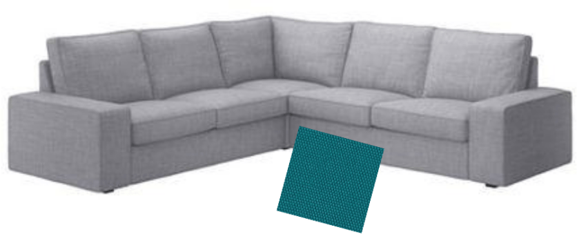 Ikea Kivik Sectional with Teal Swatch