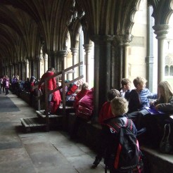 Drawing architectural detail in Norwich Cathedral Cloisters.