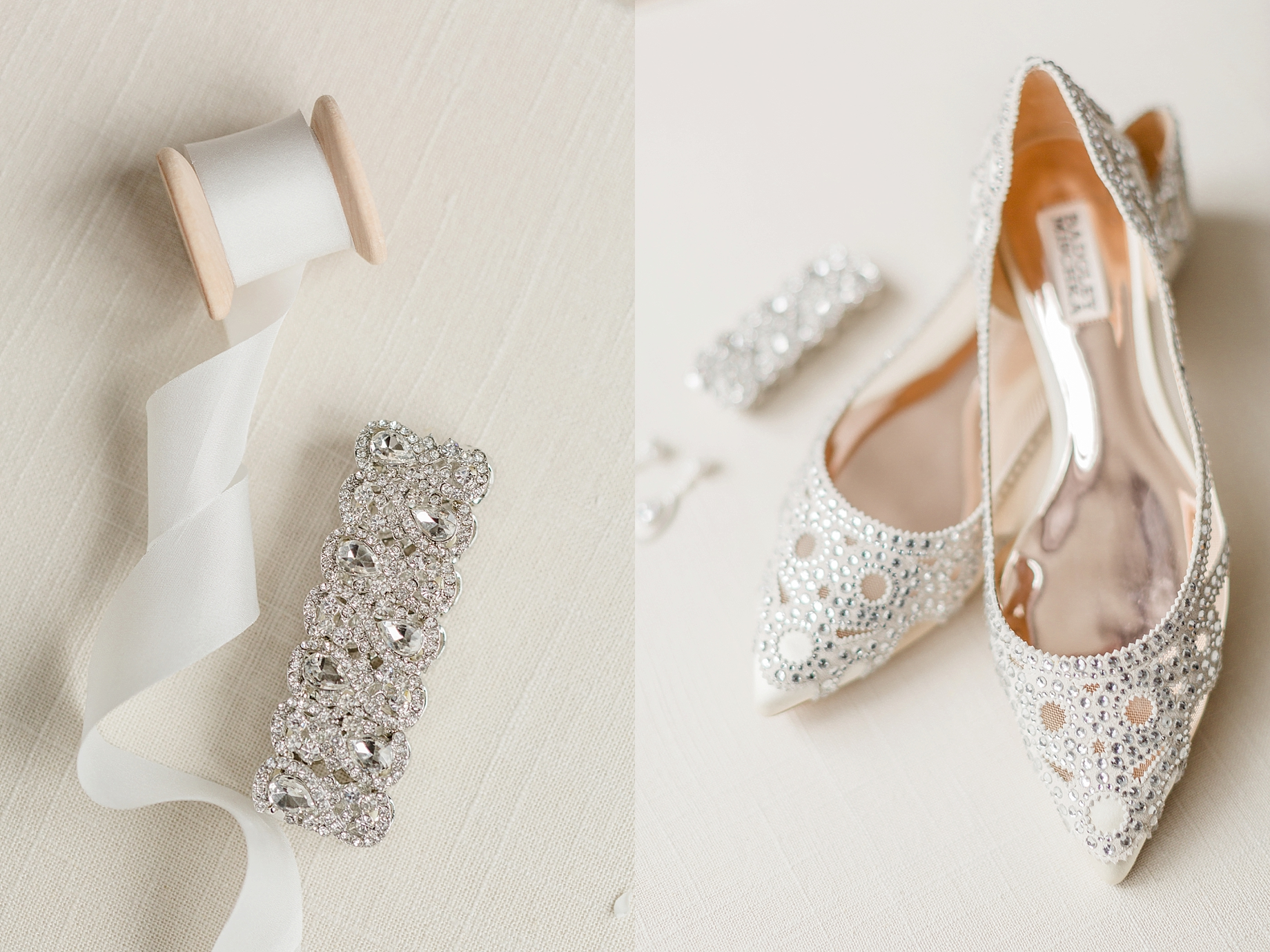 Champagne Badgley Mischka Flats | William Penn Inn Wedding