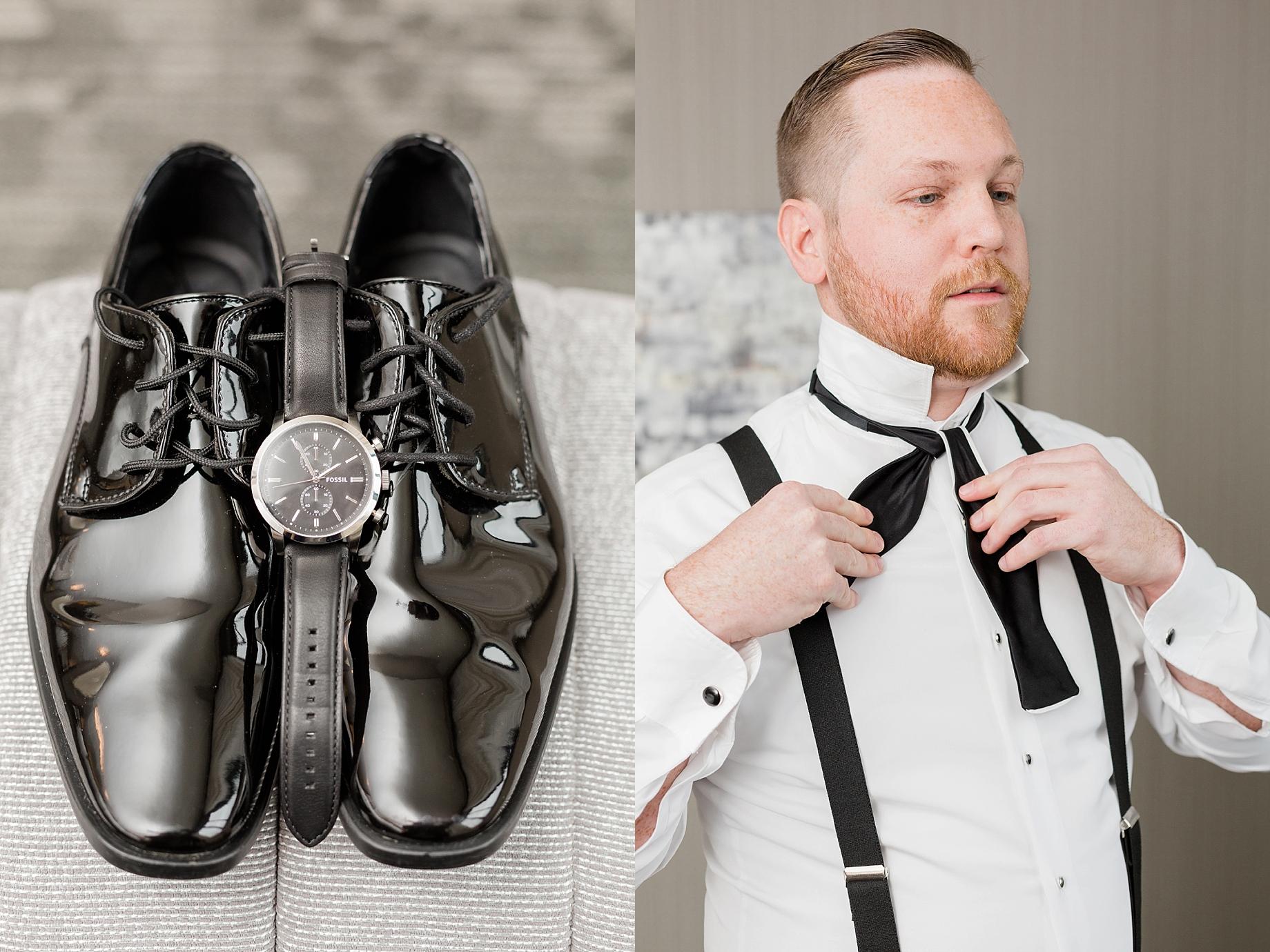black and white groom details   William Penn Inn Wedding
