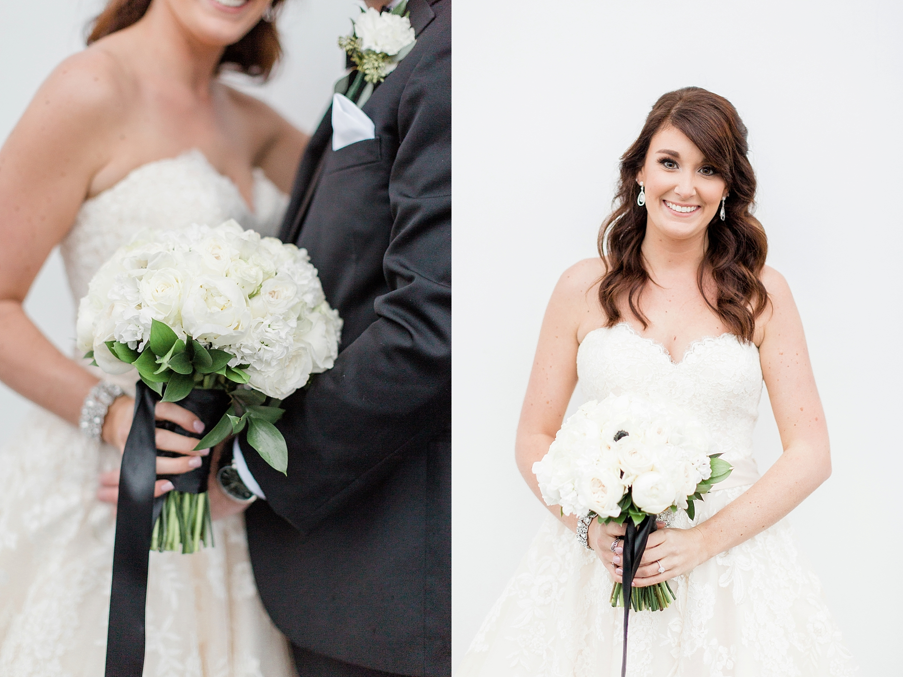 All white bridal bouquet by The William Penn Inn