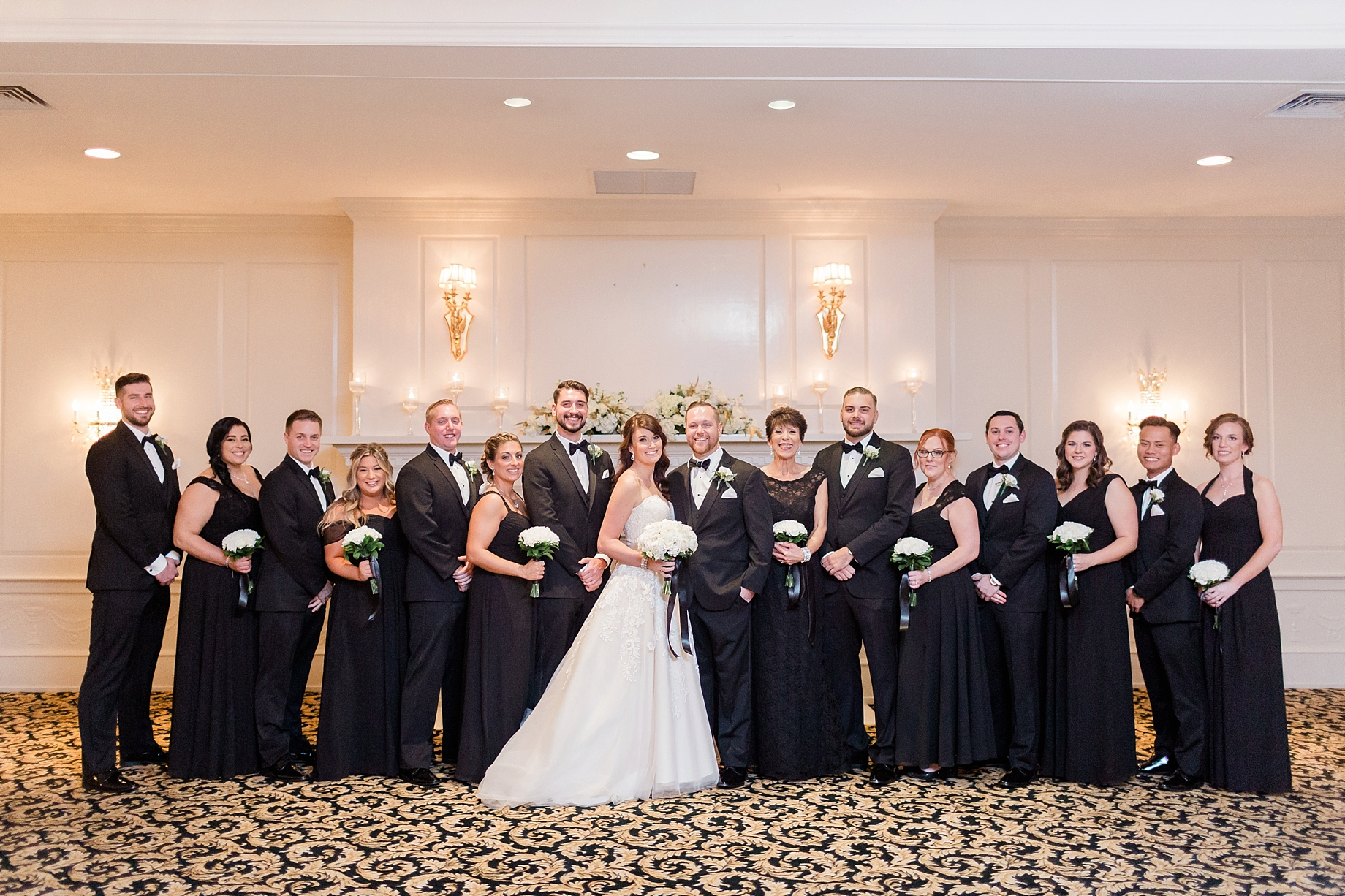 bridal party in black and white | William Penn Inn Wedding