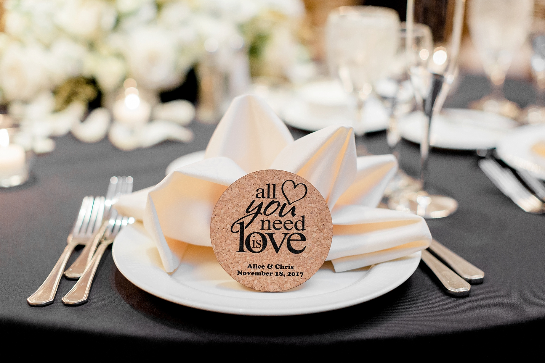 cork coaster wedding favors | William Penn Inn Wedding