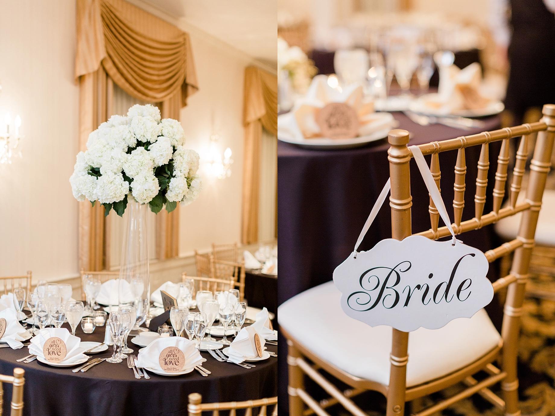 gold, black, and white wedding reception   william penn inn wedding
