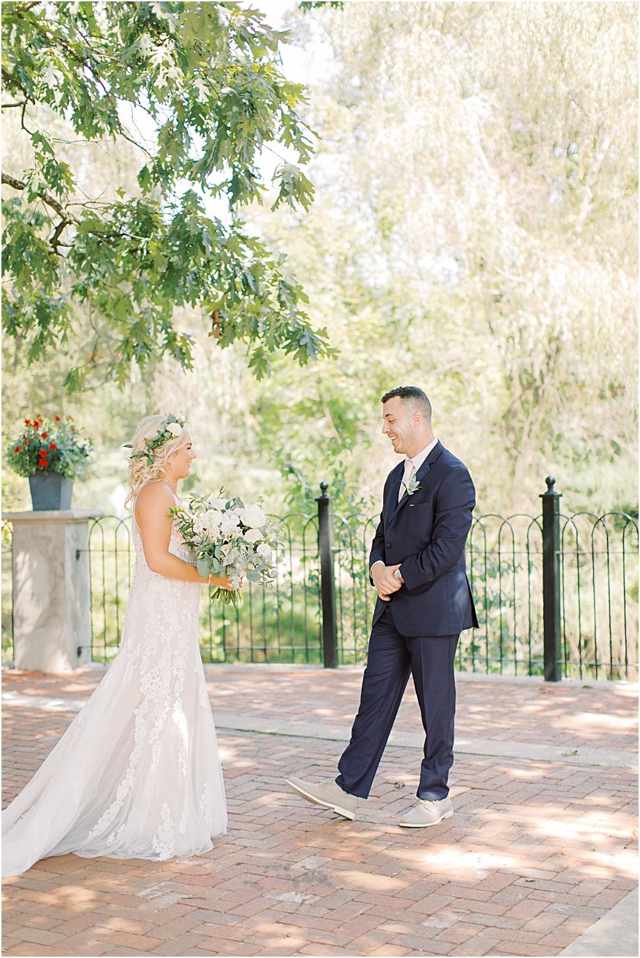 bride and groom first look | Hotel Du Village Wedding