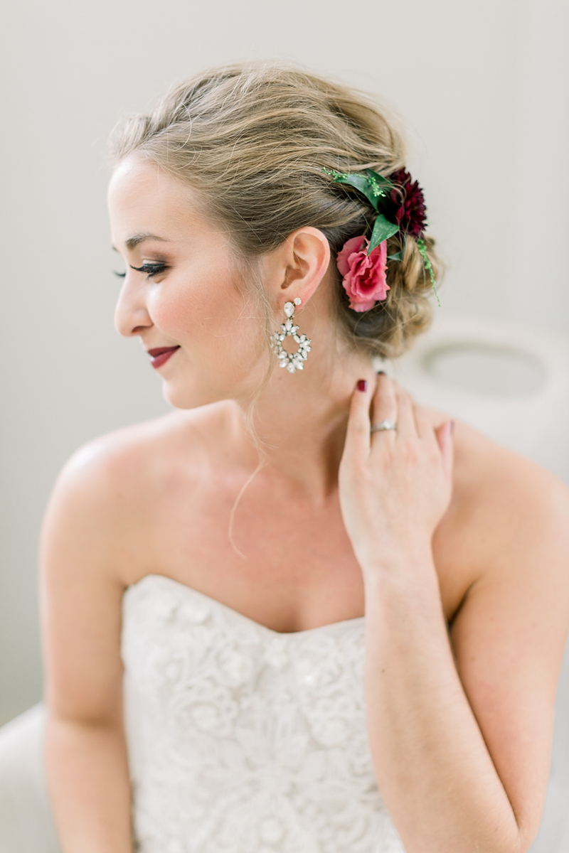Flowers in Bride's hair | Lancaster Wedding Photographer