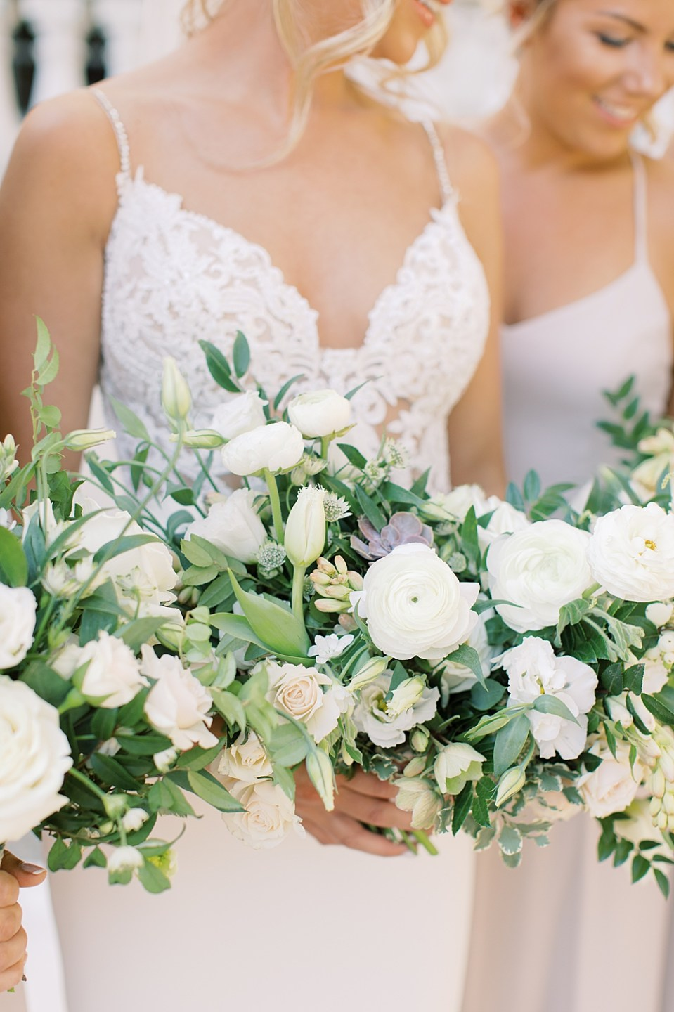 white and blush bridal bouquet by whisper and brook flower co | PA wedding photographer Sarah Canning