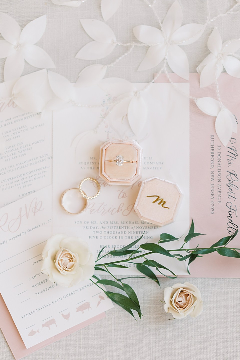 personalized pink the mrs. box | bear brook valley wedding