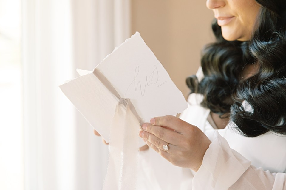 bride reading vows | our vows custom vow book | sarah canning photography