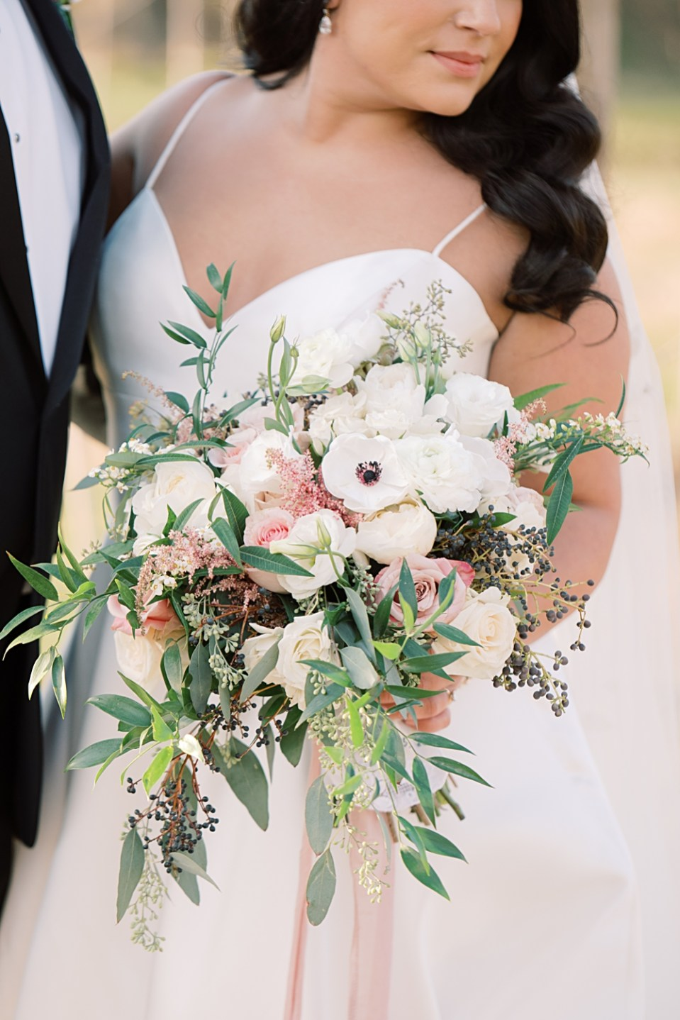 mauve and white wedding bouquet | from peonies to paint chips | sarah canning photography