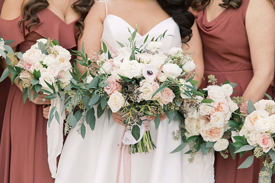 dusty rose and ivory wedding bouquet | from peonies to paint chips | sarah canning photography